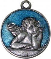 Medaglia angelo tonda smaltata cm 2 - Azzurro
