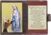 """Icona da viaggio in legno """"Madonna di Lourdes"""" con preghiera e custodia - cm 10x7"""
