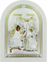 Icona Annunciazione Greca a forma di arco con lastra in argento - 24,7 x 32,5 cm