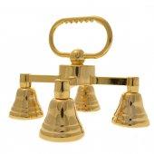 Immagine di 'Gruppo di quattro campanelli in ottone dorato - dimensioni 13x14,5 cm'