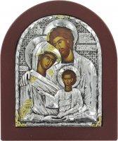 Icona Sacra Famiglia con riza resinata color argento - 12,5 x 10,5 cm