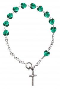 Copertina di 'Braccialetto con 11 grani a forma di cuoricini in vetro verde'