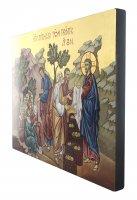 Immagine di 'IconaDistribuzione Pani Pesci dipinta a mano su legno con fondo orocm 26x32'