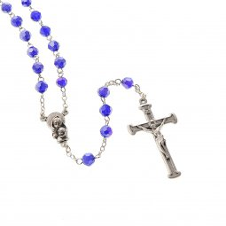 Copertina di 'Rosario in cristallo blu con croce in metallo color argento - grani sfaccettati 5 mm'
