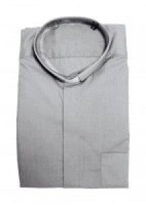 Copertina di 'Camicia clergyman grigio chiaro manica lunga 100% cotone - collo 45'