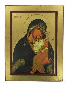 Copertina di 'Icona Madre di Dio di Jaroslav, produzione greca su legno - 33 x 25 cm'