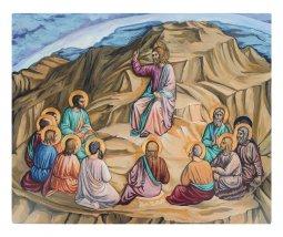 """Copertina di 'Icona """"discorso della montagna"""" dipinta a mano su legnocm 26x32'"""