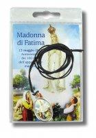 Medaglia resinata Madonna di Fatima con laccio in blister con preghiera