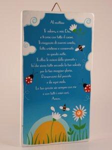 """Copertina di 'Quadretto colorato con preghiera """"Al mattino"""" - dimensioni 15x8,5 cm'"""