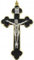 Croce in metallo dorato con smalto nero e Cristo riportato - 8 cm