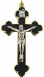 Copertina di 'Croce in metallo dorato con smalto nero e Cristo riportato - 8 cm'