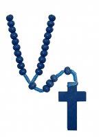 Rosario in legno con legatura in seta e grani tondi blu - diametro mm 7 di  su LibreriadelSanto.it