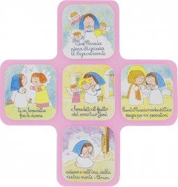 """Copertina di 'Pala a forma di croce """"Ave Maria"""" 30X28 - rosa'"""