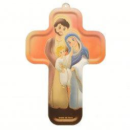 """Copertina di 'Croce in legno """"Sacra Famiglia"""" - altezza 13 cm'"""