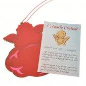 """Immagine di 'Angioletto in legno d'ulivo """"Angelo mio"""" su sfondo rosa - dimensioni 8x8 cm'"""