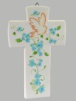 Croce con colomba effetto pietra - Fiore azzurro