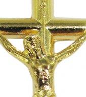 Immagine di 'Croce tondino con Cristo riportato in metallo dorato - 3,5 cm'