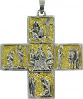 Croce Vescovo pettorale in metallo bicolore raffigurante scene di vita di Gesù - 8,7 cm