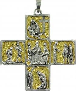 Copertina di 'Croce Vescovo pettorale in metallo bicolore raffigurante scene di vita di Gesù - 8,7 cm'