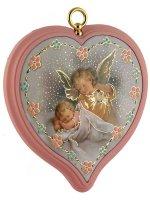 """Sopraculla a cuore rosa con """"Angelo custode""""  - altezza 10 cm"""