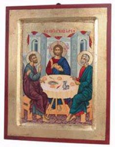"""Copertina di 'Icona in legno e foglia oro """"Discepoli di Emmaus"""" - dimensioni 23x18 cm'"""