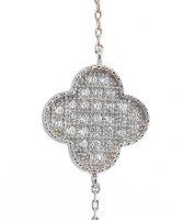 Immagine di 'Braccialetto con quadrifoglio con strass in argento 925 con bagno in oro bianco'