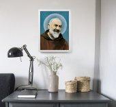 """Immagine di 'Quadro """"Padre Pio"""" con lamina oro e cornice minimal - dimensioni 44x34 cm'"""