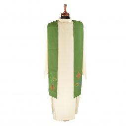 Copertina di 'Stola verde con ricamo policromo a croce con pesce e pane'