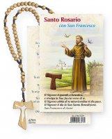 Coroncina rosario Tau in legno e cartoncino pieghevole con San Francesco