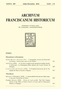 Archivum Franciscanum Historicum n. 2016/3-4