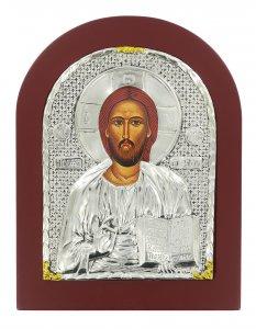 Copertina di 'Icona Cristo Pantocratore con riza resinata color argento - 22 x 17 cm'