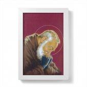"""Quadretto """"Padre Pio"""" bordeaux con cornice minimal - dimensioni 15x10 cm"""