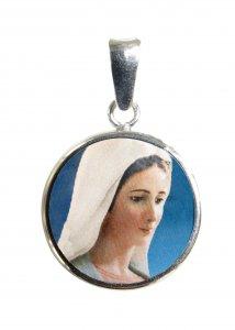 Copertina di 'Medaglia Madonna Medjugorje tonda in argento 925 e porcellana - 1,8 cm'