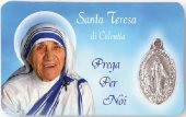 """Card plastificata """"Madre Teresa di Calcutta"""" con medaglia"""