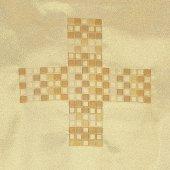 Immagine di 'Coprileggio dorato con croce a mosaico ricamata a macchina'