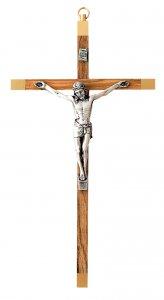 Copertina di 'Crocifisso da parete in legno di ulivo con Cristo in metallo argentato - 16 cm'