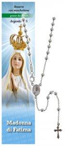 Copertina di 'Rosario Fatima in argento 925 con grani da Ø 3 mm e preghiera in italiano'