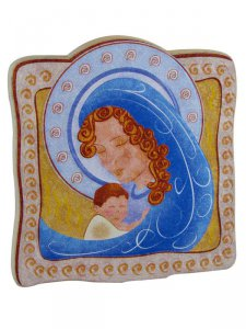 """Copertina di 'Calamita in polimero """"Maria col Bambino addormentato"""" - dimensioni 5,8x6,5 cm'"""