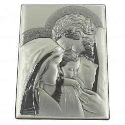 """Copertina di 'Icona in legno e argento """"Sacra Famiglia"""" - dimensioni 22x16 cm'"""