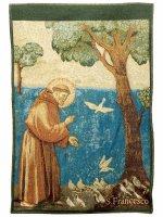 """Arazzo sacro """"San Francesco predica agli uccelli"""" - dimensioni 44x33 cm - Giotto"""