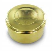 Teca eucaristica ostie in metallo dorato con incisione IHS - Ø 8 cm