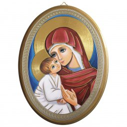 """Copertina di 'Icona ovale """"Madre della Divina Grazia"""" - dimensioni 21,5x16 cm'"""