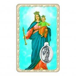 """Copertina di 'Card """"Maria Ausiliatrice"""" con preghiera e medaglia - (10 pezzi)'"""