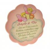 """Quadretto rosa con nuvola """"Angelo di Dio"""" - dimensioni 17x17 cm"""