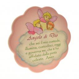 """Copertina di 'Quadretto rosa con nuvola """"Angelo di Dio"""" - dimensioni 17x17 cm'"""