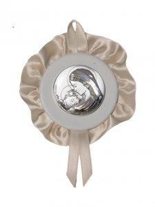 """Copertina di 'Sopraculla bianco in pelle e bilaminato d'argento con merletto """"Madonna col Bambino"""" - diametro 11 cm'"""