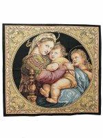 """Arazzo sacro """"Madonna della Seggiola"""" - dimensioni 65x65 cm - Raffaello Sanzio"""