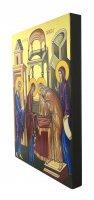 Immagine di 'IconaPresentazione al Tempio dipinta a mano su legno con fondo orocm 19x26'
