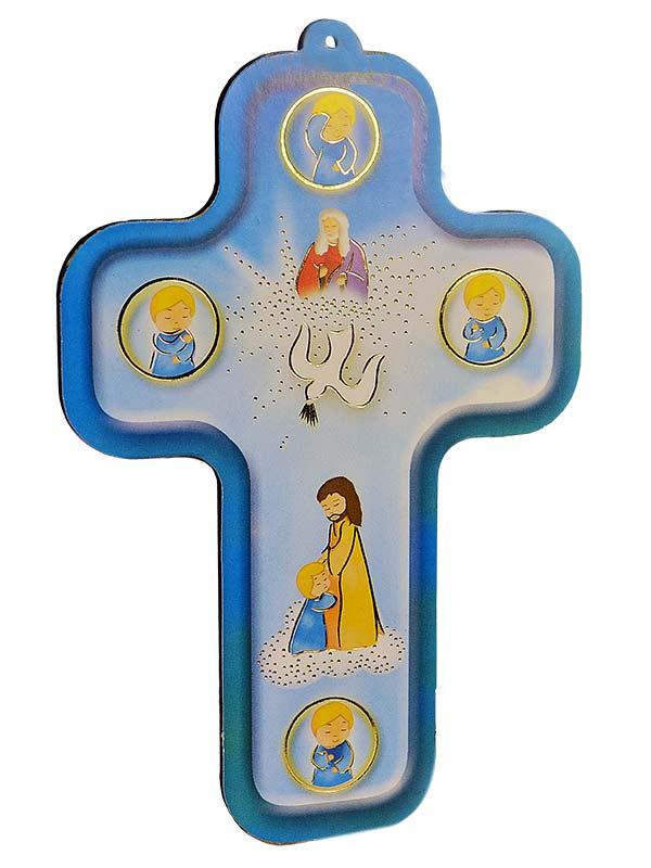 Croce in legno 39 il segno della croce 39 in legno sintetico for Immagini punto croce per bambini
