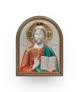 """Copertina di 'Quadro in bilaminato d'argento """"Cristo Pantocratore"""" - dimensioni 18x14 cm'"""